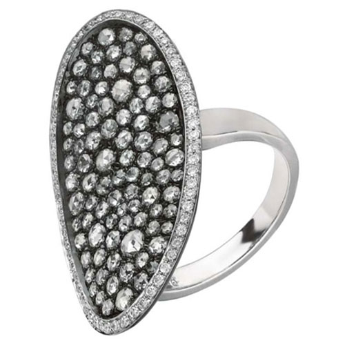 18K White Gold and Black Rhodium Diamond Ring