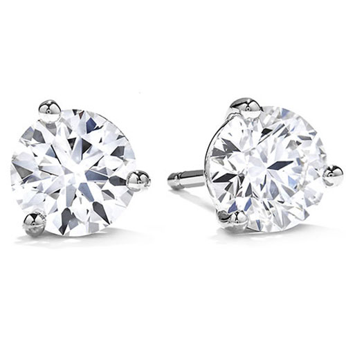14K White Gold Diamond Solitaire Earrings 1 ct tw H-SI2