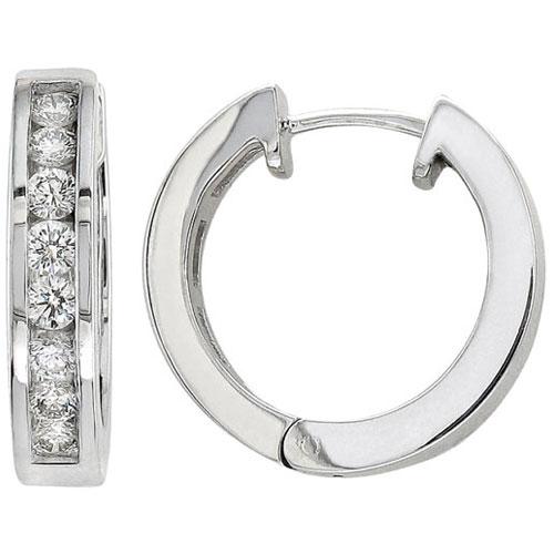 10K White Gold Diamond Hoop Earrings 1/7ct tw