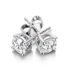 14K White Gold Diamond Solitaire Earrings 3/8 ct tw H-I1