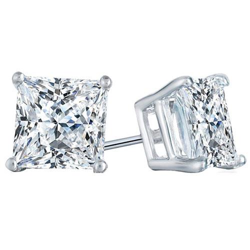 14K White Gold Princess Cut Diamond Earrings 1 1/2 ct tw K-SI