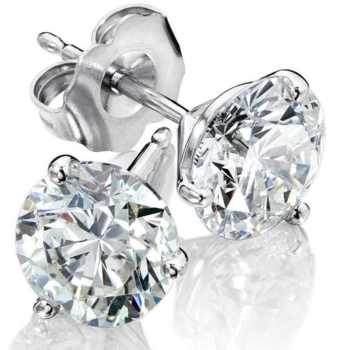 14K White Gold Diamond Solitaire Earrings 5/8 ct tw G-SI