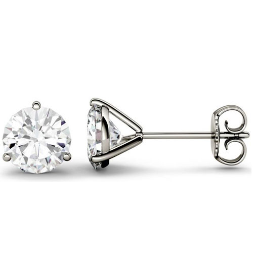 14K White Gold Diamond Solitaire Earrings 1/4 ct tw H-SI