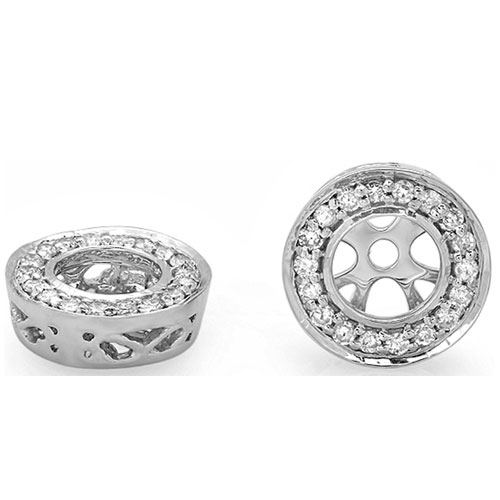 14K White Gold Diamond Earring Jackets 1/4ct tw