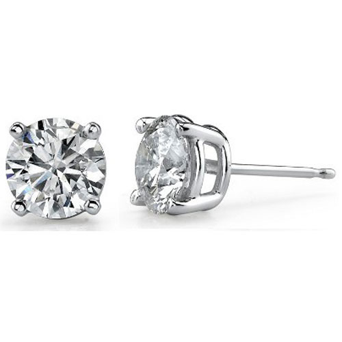 14K White Gold Diamond Solitaire Earrings 1/10 ct tw H-I2 Quality