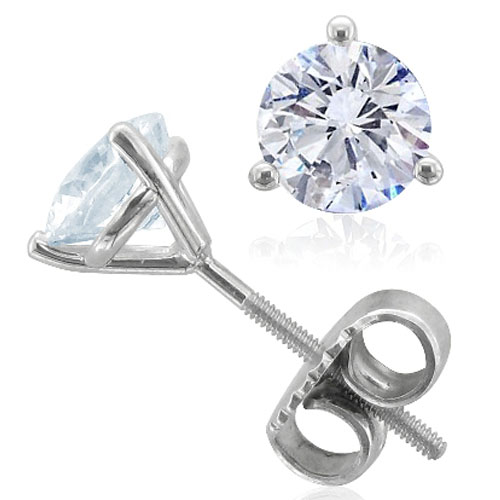 14K White Gold Diamond Solitaire Earrings 1/3ct tw I-I1