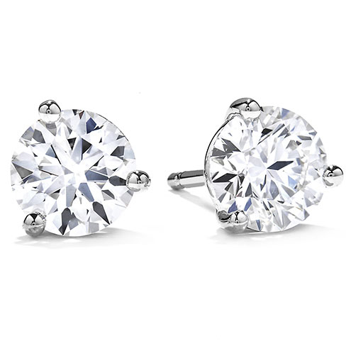 14K White Gold Diamond Solitaire Earrings 1/2 ct tw H-SI
