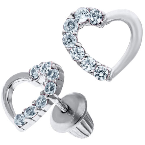 Sterling Silver Cubic Zirconia Heart Shaped Child's Earrings