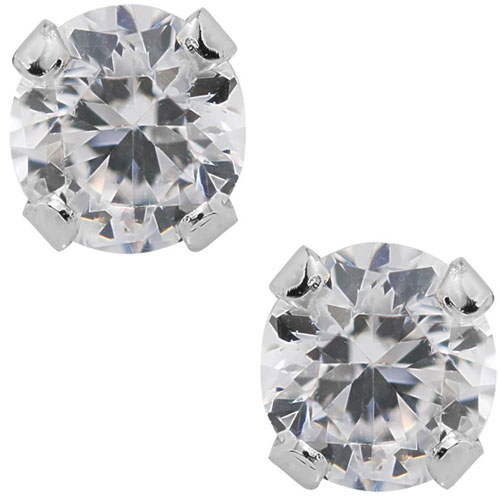 Sterling Silver Solitaire Cubic Zirconia Child's Earrings