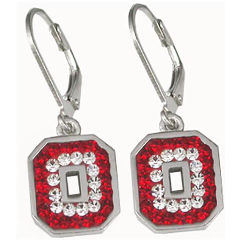 "Sterling Silver Red & Gray Crystal ""Block O"" Dangle Earrings"
