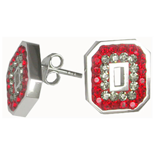 "Sterling Silver Red & Gray Crystal Post Block ""O"" Earrings"