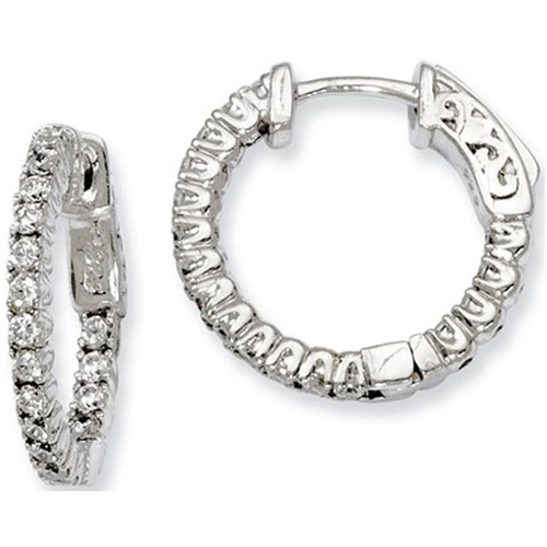 Sterling Silver Cubic Zirconia Front & Back Hoop Earrings
