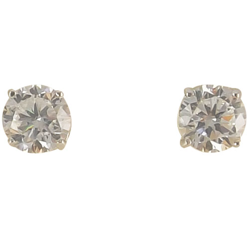 Sterling Silver 6mm Cubic Zirconia Solitaire Earrings