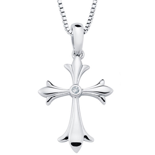 """Sterling Silver Diamond Cross Pendant .01 ct with 18"""" Chain"""
