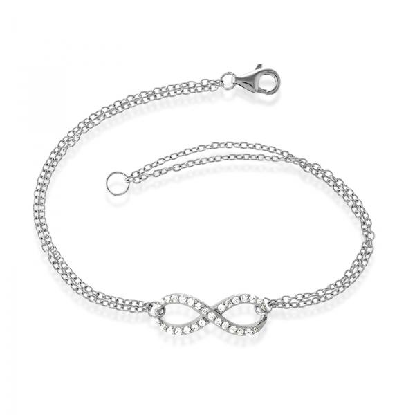 """Sterling Silver Double Strand CZ 7"""" Infinity Bracelet"""