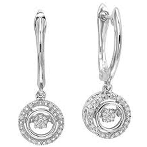 Sterling Silver Rhythm of Love Diamond Earrings 1/10 ct tw