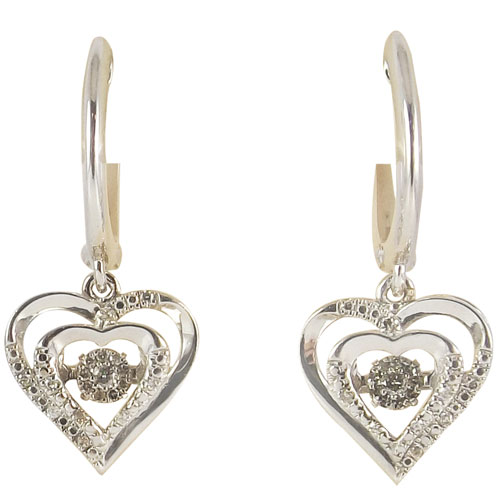 Sterling Silver Rhythm of Love Diamond Earrings 1/7ct tw