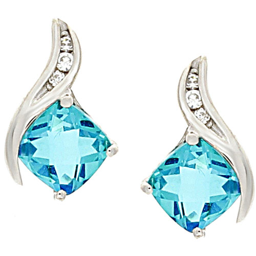Sterling Silver Square Blue Topaz Cubic Zirconia Earrings