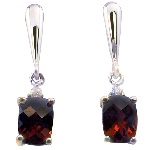 Sterling Silver Emerald Cut Garnet Earrings with Cubic Zirconia