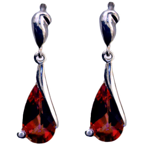 Sterling Silver Twilight Topaz Earrings with Cubic Zirconia
