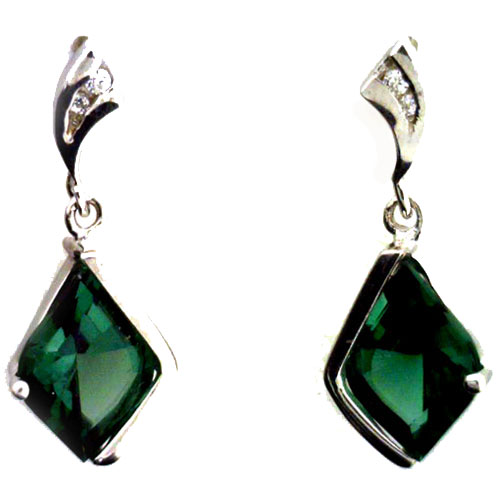 Sterling Silver Green Quartz and Cubic Zirconia Earrings