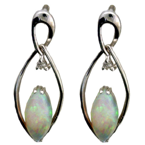 Sterling Silver Marquise Opal Earrings with Diamonds