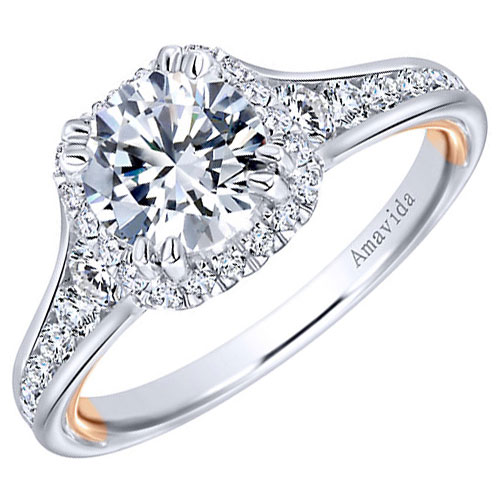 14K White Gold Halo Diamond Engagement Ring 1 1/2 ct tw. Center Diamond is 1.00 ct H-I2