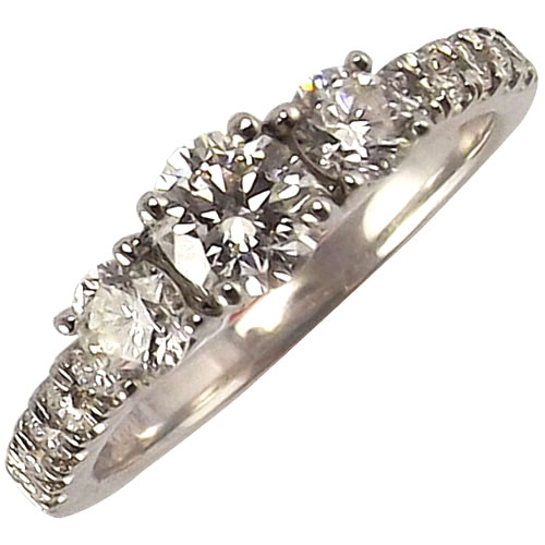 14K White Gold Three Stone Diamond Ring
