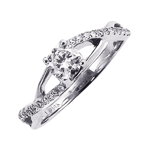 14K White Gold Diamond Engagement Ring 1/2ctw, Center Diamond .37ctw H-