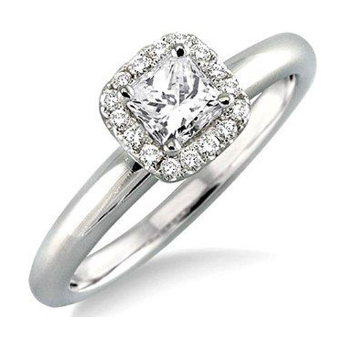 14K White Gold Diamond Engagement Ring 1/2 ct tw, Center Diamond .35 ct H-SI2