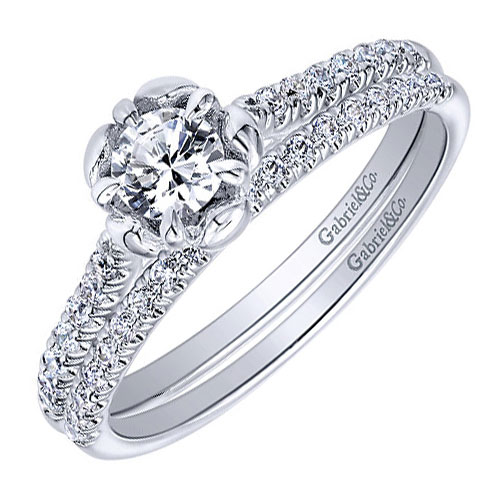 14K White Gold Diamond Engagement Ring and Band 1/2 ct tw, Center Diamond is .24 ct H-SI2