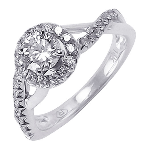 14K White Gold Diamond Engagement Ring 3/4 ct tw, Center Diamond is .50 ct H-VS1