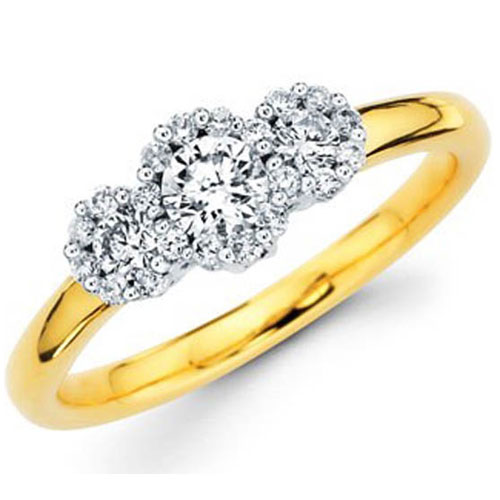 14K Yellow and White Gold Three Stone Diamond Ring