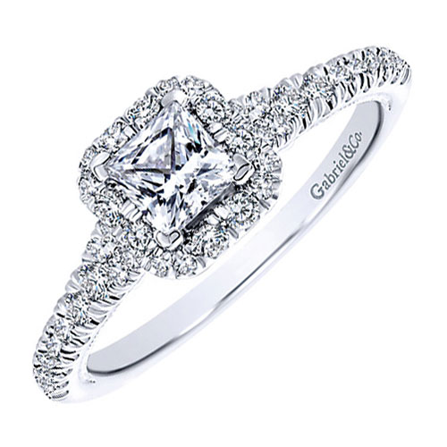 14K White Gold Diamond Engagement Ring 3/4 ct tw