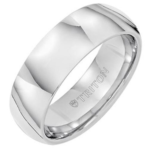 White Tungsten Carbide 7mm Wedding Band