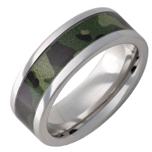 Vitalium 8mm Camo Wedding Band
