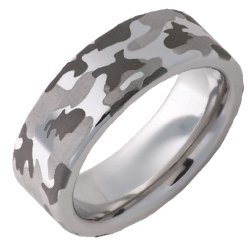 Vitalium 8mm Engraved Camo Wedding Band