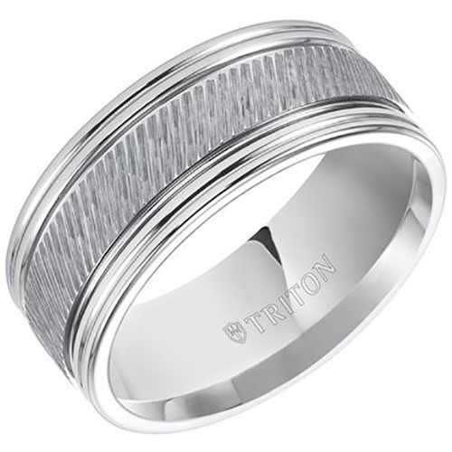 White Tungsten Carbide 9mm Wedding Band