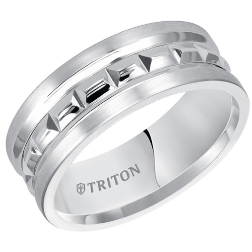 White Tungsten Carbide 6mm Wedding Band