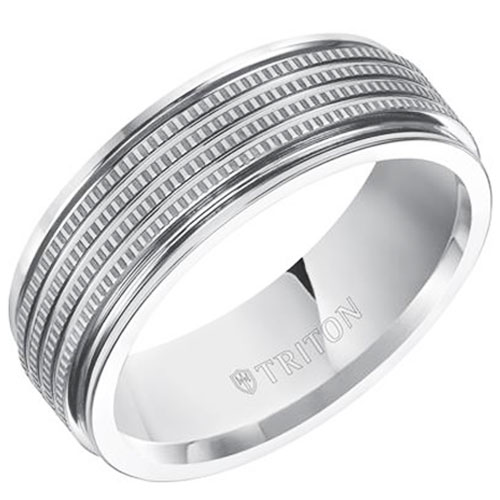 White Tungsten Carbide 7.5mm Wedding Band