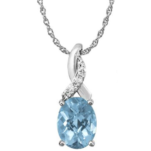 14K White Gold Aquamarine Pendant with Diamonds