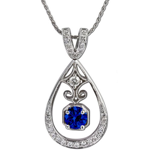 Gemstone Pendants with Diamonds