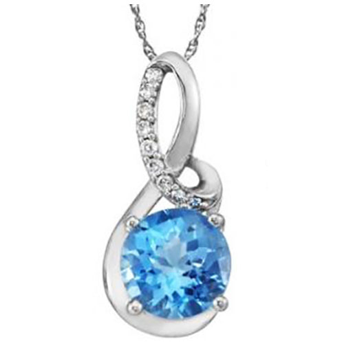 14K White Gold 9mm Round Blue Topaz Pendant with 1/10 ct tw in Diamonds