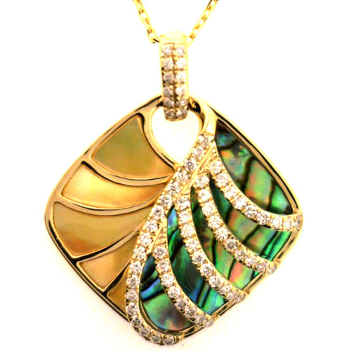 14 Karat Gold Abalone and mother of pearl pendant.
