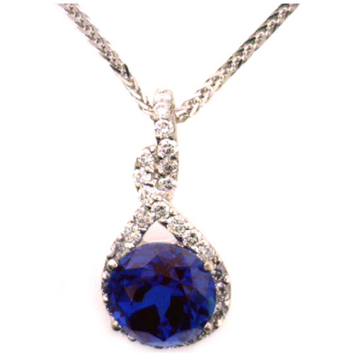 14K White Gold Chatham Created Alexandrite and Diamond Pendant 1/3ct tw
