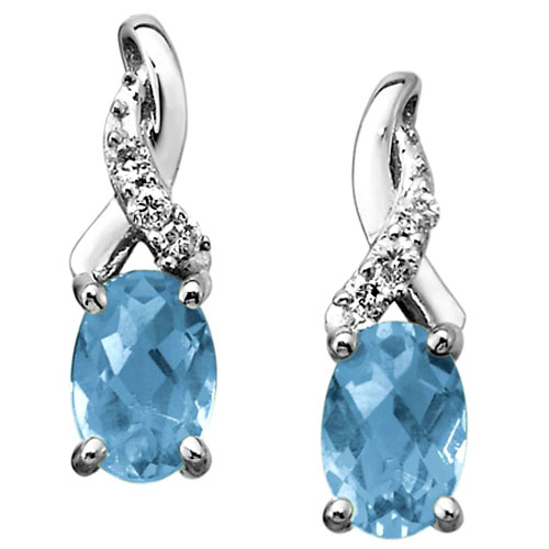 14K White Gold 6 x 4 Oval Aquamarine and Diamond Earrings 1/20 ct tw