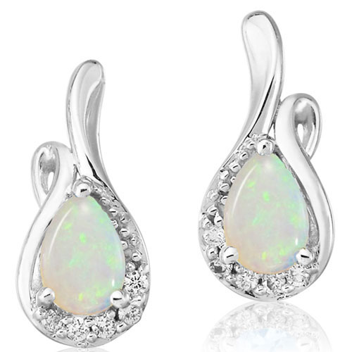 14K White Gold 7x5 Pear Shaped Opal and Diamond Earrings 1/2 ct tw