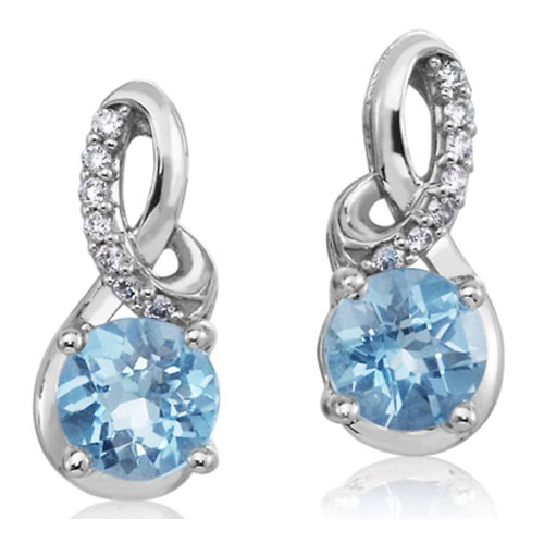 14K White Gold Blue Topaz and Diamond Earrings 1/10 ct tw