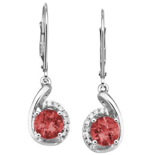 14K White Gold 6mm Garnet and Diamond Earrings 1/10 ct tw