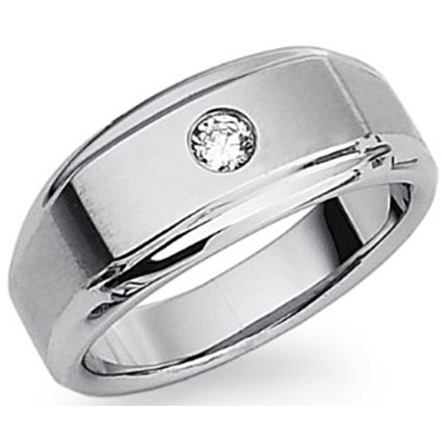 Stainless Steel Diamond Wedding Band